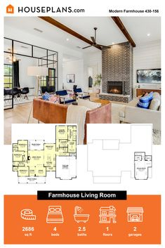 Looking for living room ideas? Check out this stylish farmhouse living room. You'll love the tal ceilings and big fireplace! Questions? Call 1-800-913-2350 today. #blog #architecture #modern #bungalow #architect #architecture #buildingdesign #country #craftsman #houseplan #homeplan #house #home #homeblog Modern Craftsman, Modern Bungalow, Modern Farmhouse Plans, Farmhouse Design, Farmhouse Style, Farmhouse Decor, Cozy Living Rooms, Building Design, Ceilings