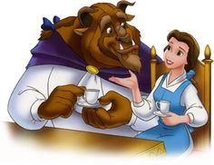 Princess Belle and Prince Adam | Disney Princess belle and the beast having tea