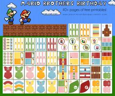 Mario Brothers Birthday toppers (and LOTS) more by Peonies and Poppy Seeds