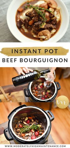 AD Beef Bourguignon is one of my favorites & it can be a challenge food allergies. Here's my Gluten & dairy free Pressure Cooker Beef Bourguignon. Multi Cooker Recipes, Easy Pressure Cooker Recipes, Instant Pot Pressure Cooker, Soup Recipes, Great Recipes, Favorite Recipes, Dinner Recipes, Cooking Recipes, Beef Stew Meat