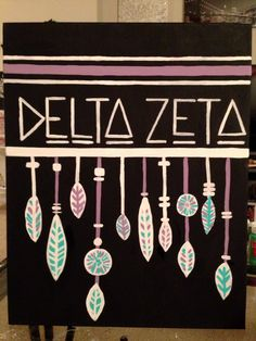 Delta Zeta painted canvas #feathers