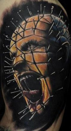 One of the tattoos from my husbands horror sleeve- done by Chad Chase of Venom Ink in Sanford, Maine. Horror Movie Tattoos, Scary Tattoos, Great Tattoos, Beautiful Tattoos, New Tattoos, Tribal Tattoos, Tatoos, Makeup Tattoos, Body Art Tattoos