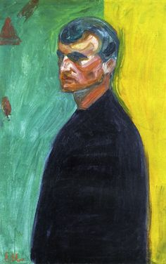 Edvard Munch, Self Portrait (Against Two-Colored Background) - circa 1904 - oil on canvas, 69.7 x 44 cm