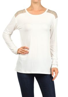 Fancy tee. Cute inset and rhinestones on shoulders.  Silky soft white fabric. $40