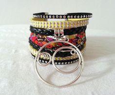 Bracelet manchette Large tissu liberty pour femme Automne/hiver 2015 simili cuir suédine strass noir jaune : Bracelet par libertylily