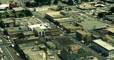 Downtown Red Deer, looking south east, 1970. That is Ross Street on the left, 48 Street on the upper right and the intersection of Gaetz Avenue and 49th Street, in the middle.