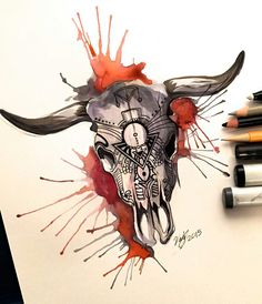 Day Cow Skull Design by on DeviantArt Bull Skull Tattoos, Bull Skulls, Cow Skull, Animal Skulls, Skull Art, Body Art Tattoos, Toros Tattoo, Tattoo Drawings, Cool Drawings