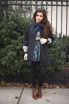 Noelle, long hair, navy, winter, autumn, style, check, tartan, boots, monk shoes, bow