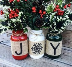 Christmas Holiday Burlap Mason Jars set of 3 Christmas mason jars or holiday mason jars these are perfect availablr in pint or Quart sized mason jar What a fabulous way to decorate for Christmas or the ho DIYHomeDecorDollarStore Burlap Mason Jars, Mason Jar Crafts, Mason Jar Diy, Bottle Crafts, Mason Jar Christmas Crafts, Fall Mason Jars, Christmas Wine Bottles, Painted Mason Jars, Mason Jar Projects