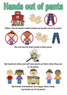 Hands Out Of Pants Social Story by Thinking Tree Resources Social Stories Autism, Social Skills Autism, Autism Learning, Social Skills Activities, Therapy Activities, Autism Resources, Behaviour Management, Classroom Management, Teaching Safety