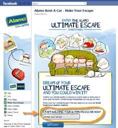 The Alamo rent a car Facebook contest page is about achieving 4 goals  Increasing Facebook 'likes' (you need to 'like' the page to enter the competition)  Building an email database  Creating customer loyalty  Selling rentals with deals and specials on display  The contest has increased the number of likes by over 5,000 since its start and is well on its way to achieving its objectives.