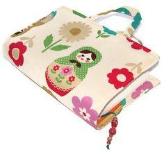 Fabric Book Bag Matryoshka Cream