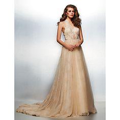 Prom/Formal Evening Dress A-line/Princess V-neck Chapel Train Lace/Tulle Dress – USD $ 249.99