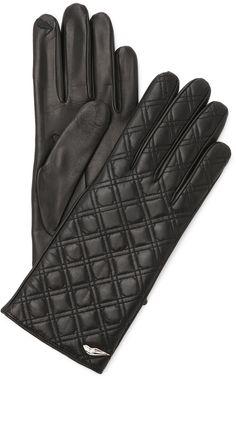 Diane von Furstenberg Caning Quilted Leather Gloves