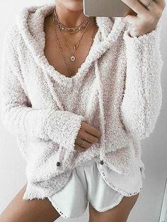 Beige Drawstring Fluffy Long Sleeve Hoodie