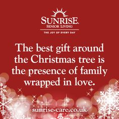 The best gift around the Christmas tree is the presence of family wrapped in love. Best Inspirational Quotes, New Quotes, Christmas Quotes, Christmas Tree, Sunrise Quotes, Senior Living, Knowing You, Best Gifts, Joy