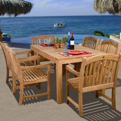 Shop a great selection of Aracely International Home Outdoor 7 Piece Teak Dining Set Rosecliff Heights. Find new offer and Similar products for Aracely International Home Outdoor 7 Piece Teak Dining Set Rosecliff Heights. Patio Dining, Outdoor Dining, Outdoor Decor, Patio Table, Outdoor Spaces, Diy Patio, Wood Patio Furniture, Outdoor Furniture Sets, White Furniture