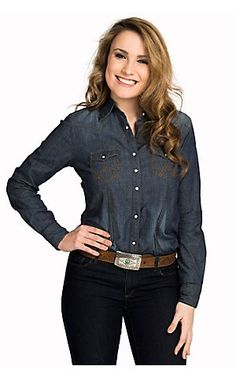 Wrangler Women's Denim Long Sleeve Snap Shirt | Cavender's