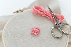 Embroidery Stitches Tutorial Learn How to Embroider a Bullion Rose - Learn how to embroider a beautiful flower with bullion knots. The resulting rose is impressive and adds great dimension to your work. Embroidery Stitches Tutorial, Learn Embroidery, Rose Embroidery, Hand Embroidery Designs, Embroidery Techniques, Embroidery Patterns, Embroidery Thread, Garden Embroidery, Beginner Embroidery