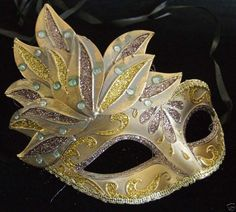 Teen Venetian Mardi Gras Mask Smaller Kid GOLD & BRONZE | eBay