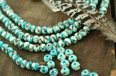 Aqua Turquoise Round Bone Beads / 6x8mm 39 by WomanShopsWorld, $3.00