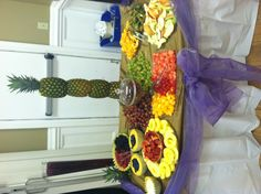 Fruit Table Decor with Pineapple Centerpiece