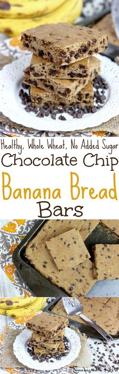 The Best Healthy Chocolate Chip Banana Bread Bars recipe - an easy, simple recipe for desserts or snacks... the perfect sweet treats! Dairy free & added sugar free. / Running in a Skirt
