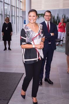 Crown Princess Victoria of Sweden and husband Prince Daniel Westling visit the headquarters of AstraZeneca pharmaceutical on September 10, 2015 in Gothenburg, Sweden.