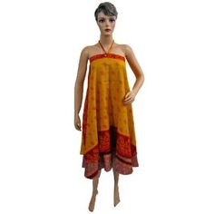 af03d3be696c8 Womens Reversible Wrap Around Silk Sari Skirt Gold Taupe Pink Printed  Multiwear Dress (Apparel)