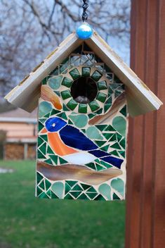Bird House Stained Glass Mosaics Blue Bird by NatureUnderGlass