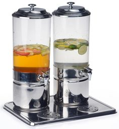 Dual Beverage Dispensers w/ Ice Packs, 1.8 Gallons Each http://www.displays2go.com/ $270 for pair