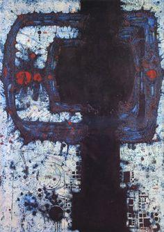Mikuláš Medek, Sensitivní manifestace III, 1963, email, olej, plátno, 172 x 123 cm
