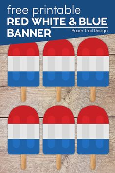 This red white and blue banner is the perfect cheap and easy decor for the 4th of July or Memorial Day. Or you could celebrate another country with red white and blue like France, Netherlands, or UK. Memorial Day Decorations, 4th Of July Decorations, Summer Crafts For Kids, Summer Kids, 4th Of July Games, Fun Bucket, Party Themes, Party Ideas, Free Printable Banner