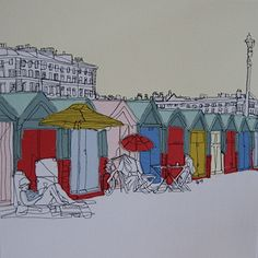 Edgy embroidery - in pictures Stitch art: Beach Huts by Gillian Bates Free Motion Embroidery, Embroidery Applique, Machine Embroidery, Nostalgia Art, Coastal Art, Seaside Art, Beach Art, Beach Huts Art, Nautical Art