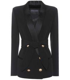 Balmain Double Breasted Wool Gabardine Blazer In Black Balmain Blazer, Balmain Jacket, Lace Jacket, Tweed Jacket, Balmain Clothing, Fur Waistcoat, Printed Blazer, Striped Blazer, Double Breasted Jacket