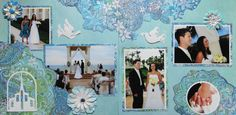 Scrapbook Page - The Wedding Ceremony - 2 page wedding layout with doves and a church - from Wedding Album 2