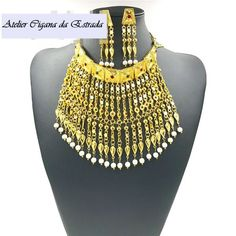 Conjunto Jóia Egypt Style 2PÇs #jóias #ciganas #importadas #colar #indiano #casamento #luxo #festa #15 #anos #15anos #oxum