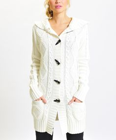 White Toggle Cable Knit Cardigan | Daily deals for moms, babies and kids