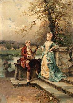 The Courtship by Cesare Auguste Detti (Italian 1847-1914)