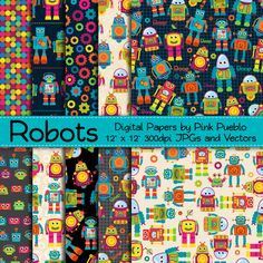 Seamless Robot Patterns or Papers by PinkPueblo on Creative Market