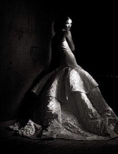 Mariacarla Boscono in Christian Dior Spring Haute Couture dress featured in Vogue Italia, March 2013.