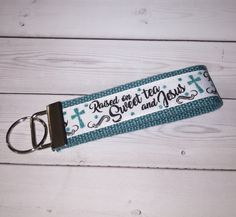 Jesus and tea Key FOB / KeyChain / Wristlet Wrist Lanyard - End of year gift - school gift - gift for her Wrist Lanyard, Keychain Wristlet, Letter Charms, Gifts For Office, Id Badge Holders, School Gifts, Gifts For Coworkers, Key Fobs, Lanyards