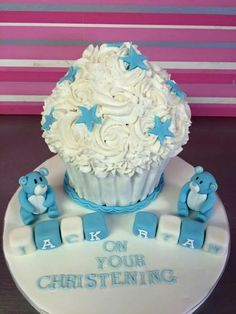 Christening Cakes, Kelly S, Giant Cupcakes, Birthday Cake, Desserts, Food, Baptism Cakes, Birthday Cakes, Meal