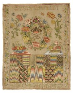 Across the top is the alphabet and numbers; below, a wreath of flowers enclosing a crown, the date, 1737, and a monogram, M.H.O. Below this is a dish of fruit, a basket of flowers and rectangular spaces filled with various stitches.