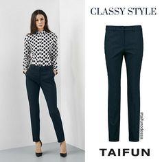 """Кстати о классике: в новой коллекции есть несколько очень удачных моделей брюк для тех, у кого на работе dress-code. К примеру, синие """"сигаретки""""  #TAIFUN , которые просто потрясающе выглядят с классическими лодочками. Наверх, если хочется чувствовать себя защищенно, можно надеть что-то удлиненное, прикрывающее паховую зону.  #NEW Брюки - 2999 грн  #taifunfashion #gerryweber #pants #bestchoice #odessa #shoppingukraine #classystyle #officelook #outfitoftheday #instafashion #stylish…"""