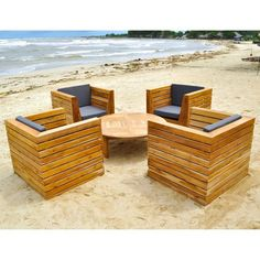 Outdoor Willow Creek Designs Pacific Teak 5 Piece Deep Seating Patio Set with Chat Table Canvas Dusk - WC-15-5491