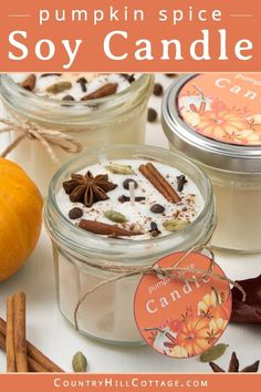 Pumpkin Spice Candle, Diy Pumpkin, Pumpkin Candles, Diy Candles Video, Diy Candles Easy, Diy Candle Ideas, Diy Candles With Flowers, Diy Candle Labels, Fall Candles