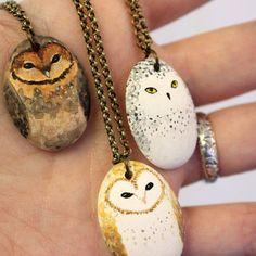 Little Owl Necklace-  Earthenware ceramic owl totem necklace