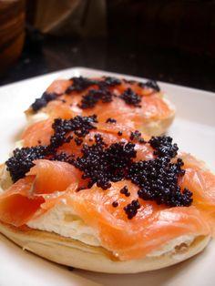 Bagel, cream cheese, lox, caviar.