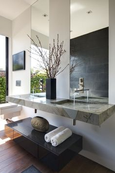 Modern Bathroom Sink Design, Pictures, Remodel, Decor and Ideas - page 2 Bathroom Sink Design, Zen Bathroom, Modern Master Bathroom, Modern Bathroom Design, Bath Design, Bathroom Interior, Small Bathroom, Bathroom Designs, Vanity Design